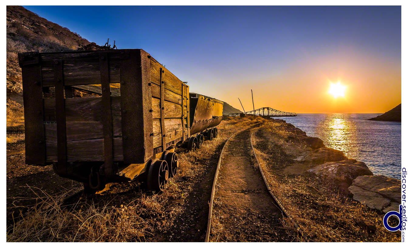 Sunset in Mega Livadi - Wagons and loading bridge